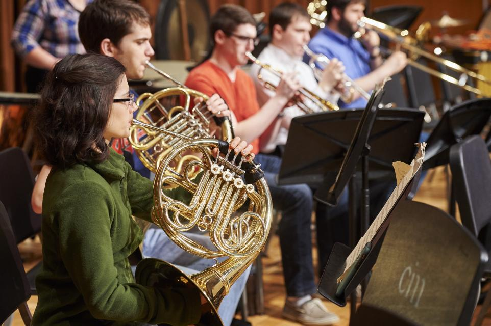 Brass section of CIM Orchestra rehearsal