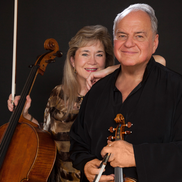 Sharon Robinson (cello) and Jaime Laredo (violin)