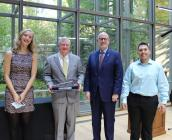 Standing in Mixon Hall: Student Government President Rachel Lauson, Chair Emeritus Richard J. Hipple, President | CEO Paul W. Hogle and Richard & Jean Hipple Scholarship recipient Austin Cruz.