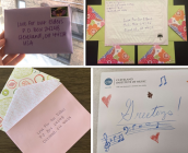 "Photo collage of envelopes addressed to ""Love for our elders"" project"