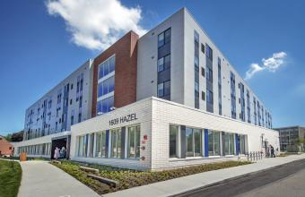 Photo of 1609 Hazel, CIM's new five-story student housing complex.